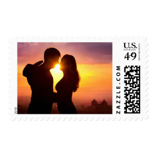 Couple Silhouette At Sunset Postage