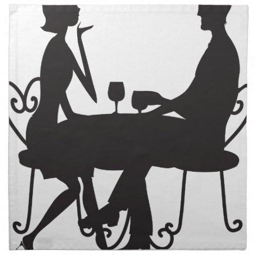 Couple Silhouette Cloth Napkins