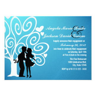 Couple Silhouette Engagement Party Custom Invitation