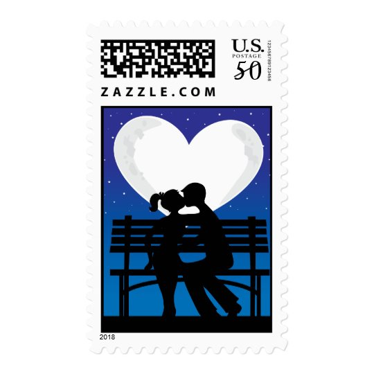 Couple Silhouette Moon Postage