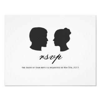 "Couple silhouette RSVP Cards 4.25"" X 5.5"" Invitation Card"