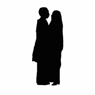 couple silhouette standing photo sculpture