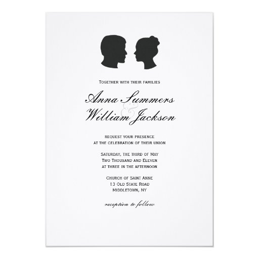 Couple Silhouette Wedding Invitation -Customs Made