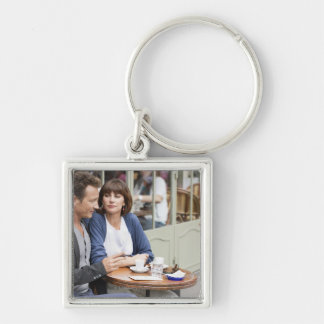 Couple sitting in a restaurant, Paris, 2 Silver-Colored Square Keychain