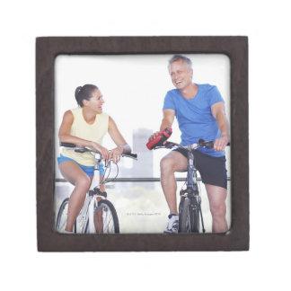 Couple sitting on bicycles keepsake box