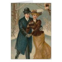 Couple Skating Cross Stitch Greeting Card