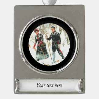 Couple Skiing Cross Country Silver Plated Banner Ornament