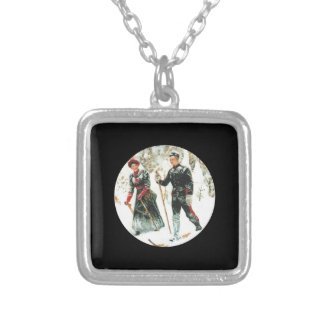 Couple Skiing Cross Country Silver Plated Necklace
