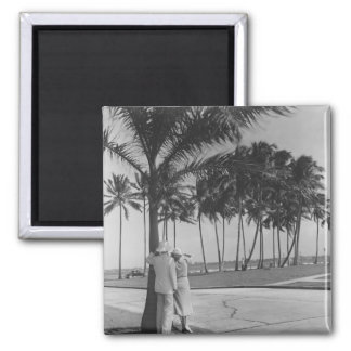 Couple standing at palm tree Rear view B&W 2 Inch Square Magnet