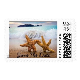 Couple Starfish on the beach..Save The Date Postage