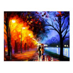 Couple Strolling in the Evening Rain Postcard