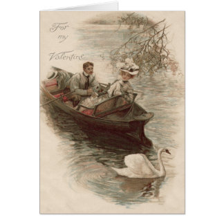 Couple Swan Boat Date Card