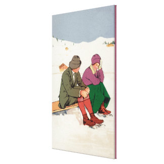 Couple Taking an Ice Skating Break Canvas Print