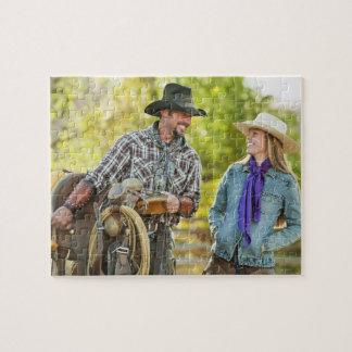 Couple talking jigsaw puzzle