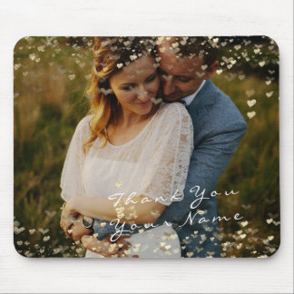 Couple Thank Favor Photo Golden Confetti Hearts Mouse Pad