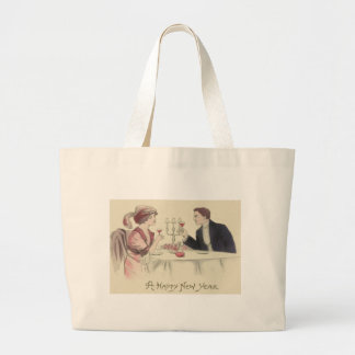 Couple Toast New Year Dinner Party Large Tote Bag