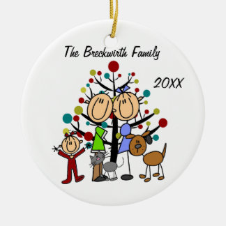 Couple, Toddler Girl, Dog, Cat Holiday Ornament