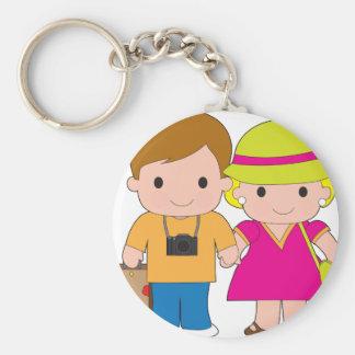 Couple Travel Basic Round Button Keychain