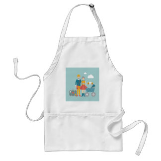 Couple traveling with baby carriage adult apron