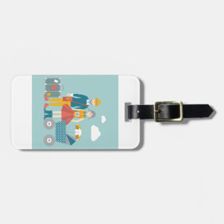 Couple traveling with baby carriage bag tag