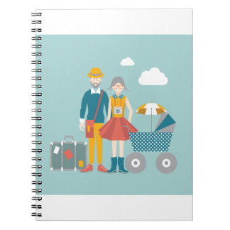 Couple traveling with baby carriage notebooks
