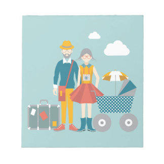 Couple traveling with baby carriage notepad