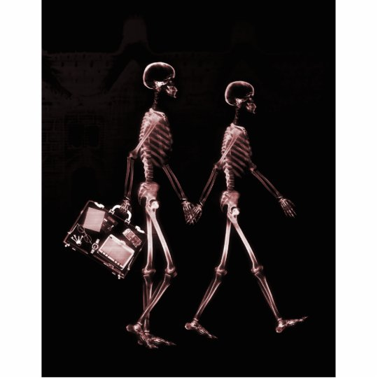Couple Traveling X-Ray Skeletons - Red Cutout