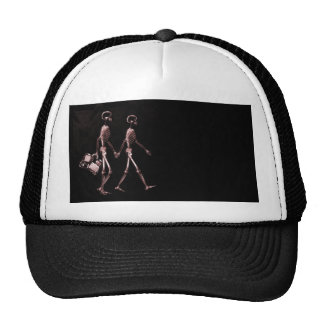 Couple Traveling X-Ray Skeletons - Red Trucker Hat
