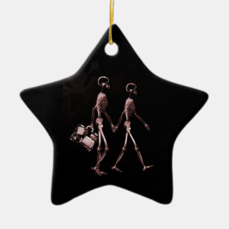 Couple Traveling X-Ray Skeletons - Red Christmas Ornament