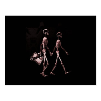 Couple Traveling X-Ray Skeletons - Red Postcard