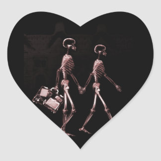 Couple Traveling X-Ray Skeletons - Red Sticker