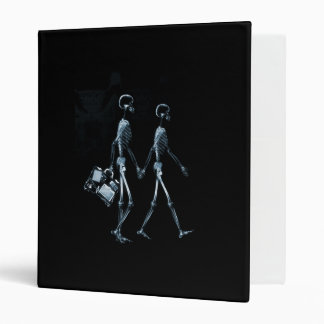 Couple Traveling X-Ray Vision Skeletons - Blue Binder