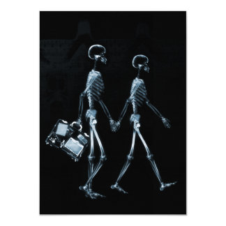 Couple Traveling X-Ray Vision Skeletons - Blue Card