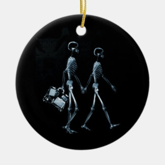 Couple Traveling X-Ray Vision Skeletons - Blue Ceramic Ornament