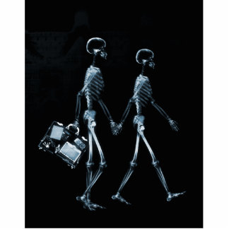 Couple Traveling X-Ray Vision Skeletons - Blue Cutout