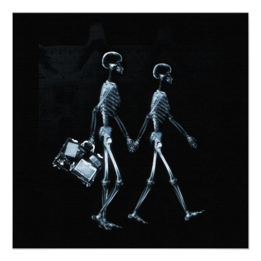 Couple Traveling X-Ray Vision Skeletons - Blue Custom Announcements
