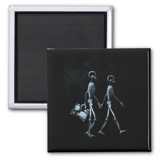 Couple Traveling X-Ray Vision Skeletons - Blue 2 Inch Square Magnet