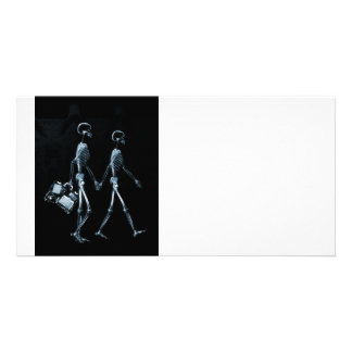 Couple Traveling X-Ray Vision Skeletons - Blue Picture Card