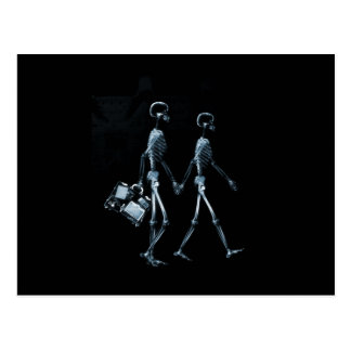 Couple Traveling X-Ray Vision Skeletons - Blue Postcard