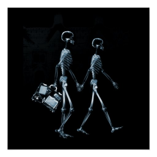 Couple Traveling X-Ray Vision Skeletons - Blue Poster