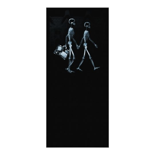 Couple Traveling X-Ray Vision Skeletons - Blue Rack Card