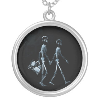 Couple Traveling X-Ray Vision Skeletons - Blue Silver Plated Necklace
