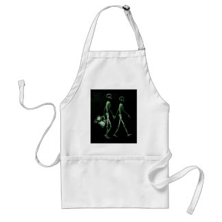 Couple Traveling X-Ray Vision Skeletons - Green Adult Apron
