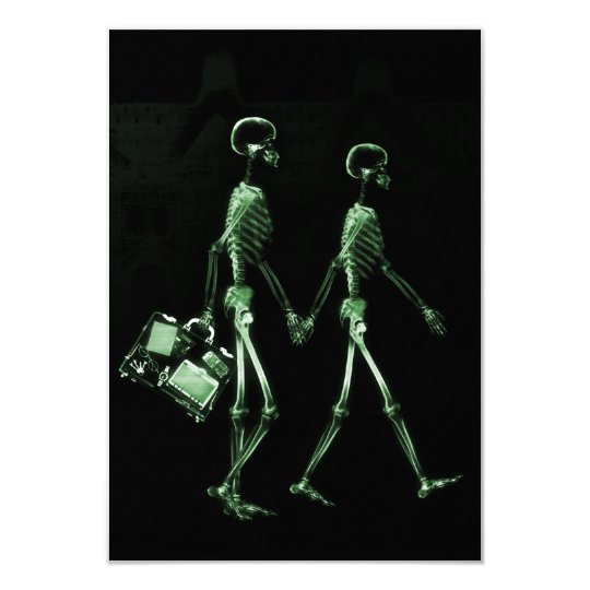 Couple Traveling X-Ray Vision Skeletons - Green Card