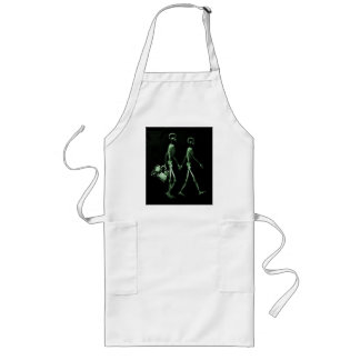 Couple Traveling X-Ray Vision Skeletons - Green Long Apron