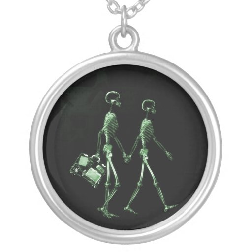 Couple Traveling X-Ray Vision Skeletons - Green Necklaces