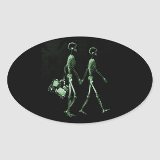 Couple Traveling X-Ray Vision Skeletons - Green Oval Sticker