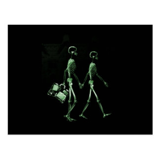 Couple Traveling X-Ray Vision Skeletons - Green Postcard