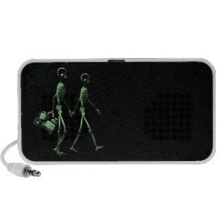 Couple Traveling X-Ray Vision Skeletons - Green Portable Speaker