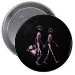 Couple Traveling X-Ray Vision Skeletons - Pink Pinback Button